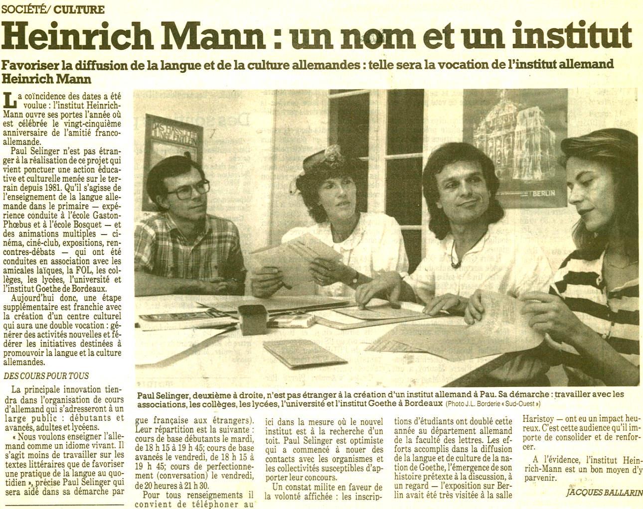 1988 : fondation de l'Institut