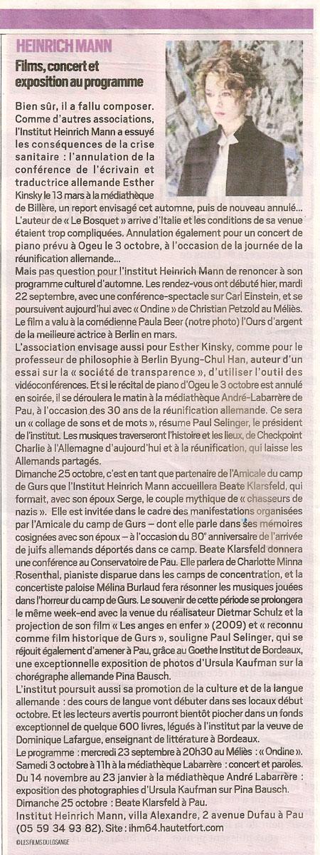 République des Pyrénées du 23/09/2020
